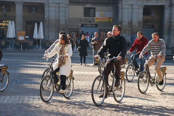 Historic Madrid on bike.